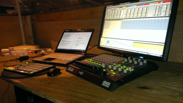 Macbeth set up: Ableton Live w/ Akai APC 40 & K. McMillen QuNeo